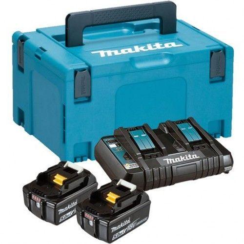 Набор аккумуляторов LXT Makita BL1850Bx2, DC18RC, Makpac (197629-2)