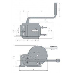 Лебедка AL-KO Compact с тормозом нагрузка 900 кг без троса